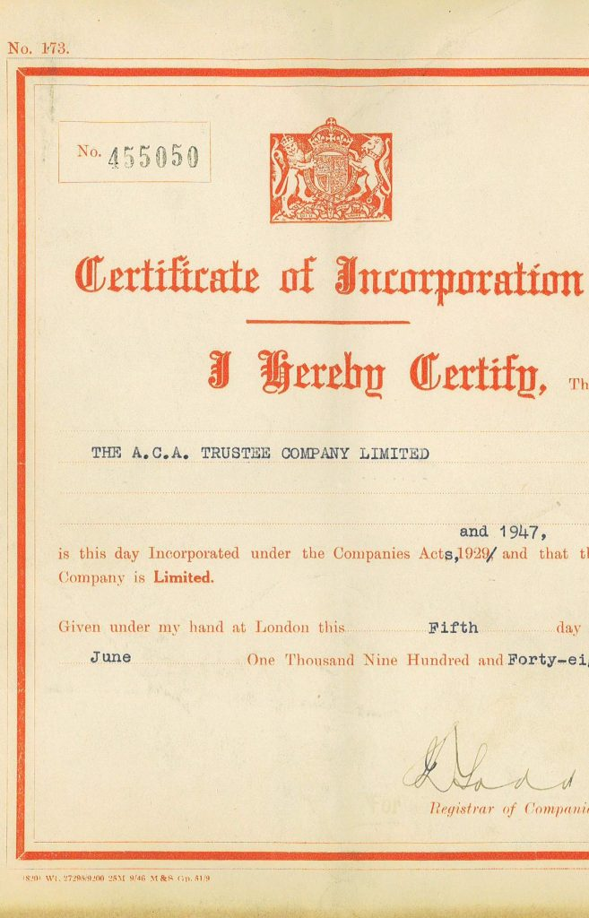 Certificate of incorporation - 1948